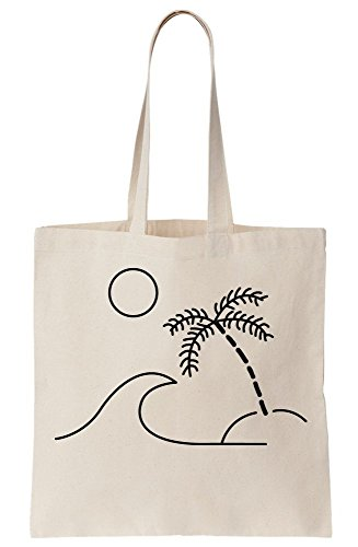 With Beach And Sun Tree Palm Drawing Tote Canvas Waves Bag Minimal HwdE7q7