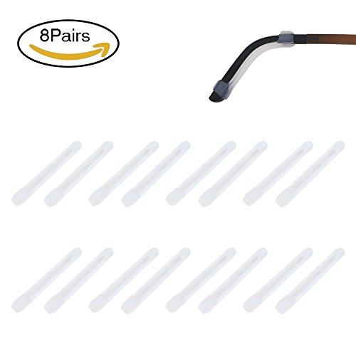 (Colossal ship Silicone Eyeglasses Temple Tips Sleeve Retainer Sunglasses ear hooks for glasses Anti-Slip Sport Eyeglass Strap Holder glasses eyewear retainer 8 pairs (Clear))
