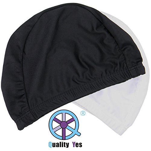 QY 2Pack Superior Polyester Cloth Fabric Bathing Cap Swimming Caps Swimming Hats for Water Sports, Black and White