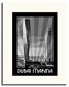 Dubai Marina- Black And White F05-nm (a4) - Framed