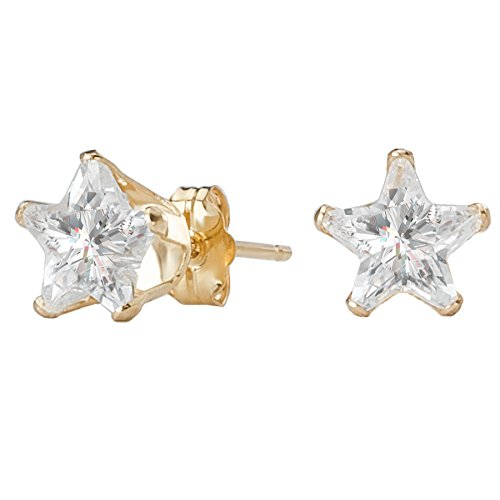 14k Yellow Gold Star-Shaped CZ Solitaire Stud Earrings