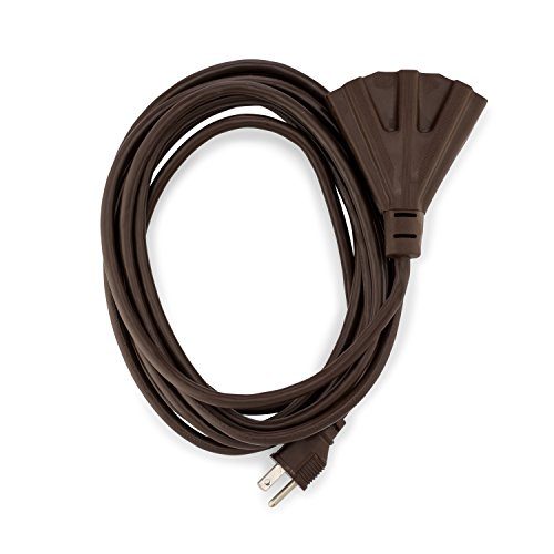 (Holiday Lighting Outlet Brown Outdoor Extension Cord | 3 Prong Outdoor & Indoor Outlet Splitter | Perfect For Landscape Lighting | 15 Feet)