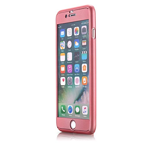 iPhone 7 Plus Case,AICase Ultra Thin Full Body Coverage Protection Soft PC [Dual Layer][Slim Fit] Case with Tempered Glass Screen Protector for iPhone 7 Plus (Rose Gold)