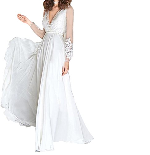 White4 Gown Formal Dress Dress amp; Bridal Prom Annies For Wedding Chiffon Evening Long Lace 41xSqnHwO
