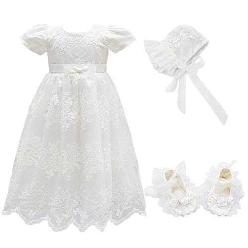 Glamulice Baby Girls Flower Christening Baptism Dress Formal Party Special Occasion Dresses for Toddler (6M / 6-12Months, White-3pcs)]()