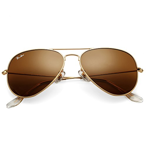 Pro Acme Classic Aviator Sunglasses for Men Women 100% Real Glass Lens ()