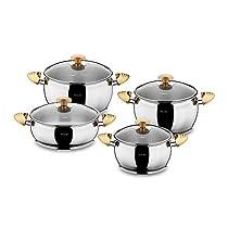 Hisar 9 Piece Lisbon Stainless Steel Cookware Set, Gold