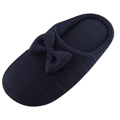 d'intérieur Peluche Yonglan confortable Coton en Hiver Navy Bowknot Chaussons Chaussons chaud Automne Pantoufles Pantoufles Femme HD Coton 4OwqS4xv