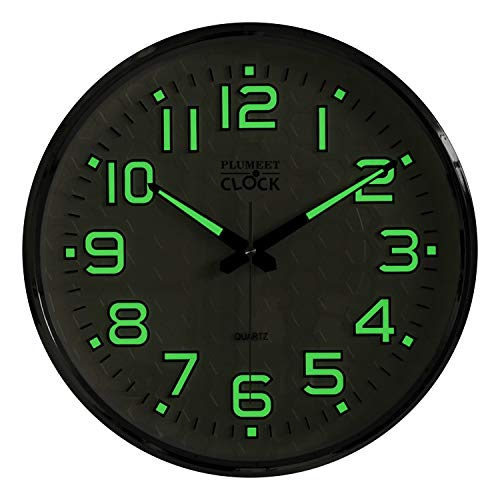 Plumeet Night Light Wall Clocks, 13 Inches Clock with Silent Non-Ticking Glowing for Indoor Kitchen Bedroom, Large Number Battery Operated (Silver)
