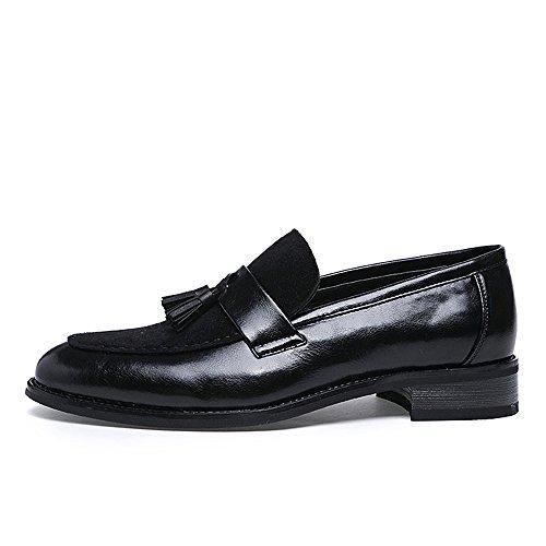 EU Jusheng Zapatos Marrón 39 Convencional Zapatillas tamaño de Negocios Opcional Negro Color Formales de Oxfords de Negocios Hombre Borla Cuero Planas para 4Rrf4