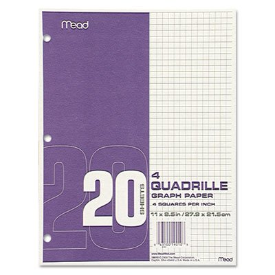 Quadrille Graph Paper, Quadrille (4 sq/in), 8 1/2 x 11, White, 12 Pads/Pack, Sold as 12 Pad (Pads Quadrille Mead)