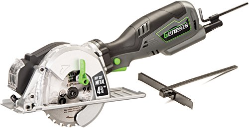 "Genesis GMCS547C 5.8 Amp 4-3/4"" Control Grip Compact Circular Saw for Metal Cutting with Chip Collector and Metal Cutting Blade"