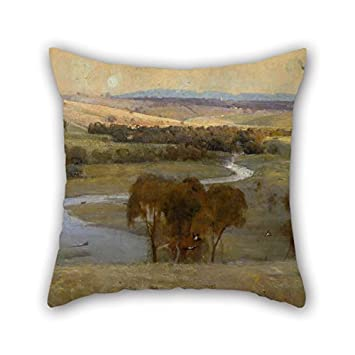 Throw Pillow Case Of Oil Painting Arthur Streeton   U0027Still Glides The  Stream, And