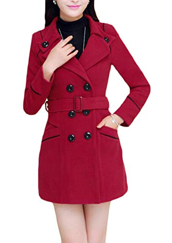 (Pandapang Womens Trendy Double Breasted Belt Overcoat Wool-Blend Pea Coat Wine Red Small)