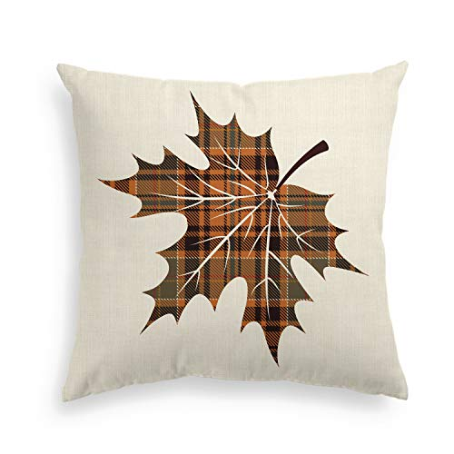 Artoid Christmas Holiday Orange and Black Buffalo Check Plaid Leave Linen Decorative Throw Pillow Cover Case | Invisible Zipper, 18 x 18 Inch Autumn Fall Cushion Protector for Sofa Couch Home Decor