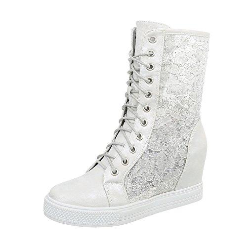 Ital-Design Sneakers High Damenschuhe Keilabsatz/Wedge Keilabsatz Reißverschluss Freizeitschuhe Silber