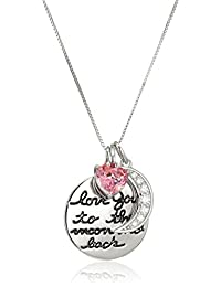 """Platinum Plated Sterling Silver Swarovski Zirconia I Love You To The Moon and Back Pendant Necklace, 18"""""""