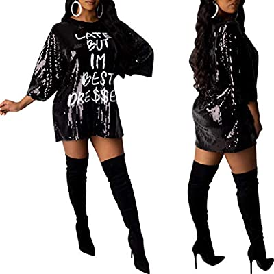 Women 'Late BUT IM Best Dressed' Letter Print Sequin Mini Short Dresses Loose Crew Neck Party Club T-Shirt Dress at  Women's Clothing store