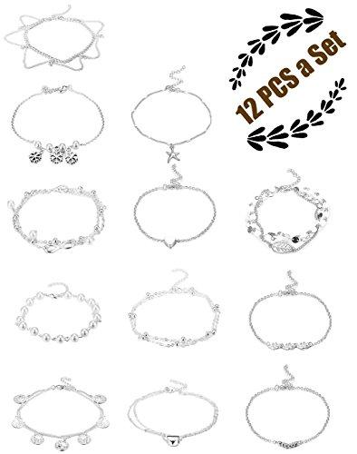 FIBO STEEL 12 Pcs Anklets for Women Girls Chain Bracelets Adjustable Beach Foot Jewelry
