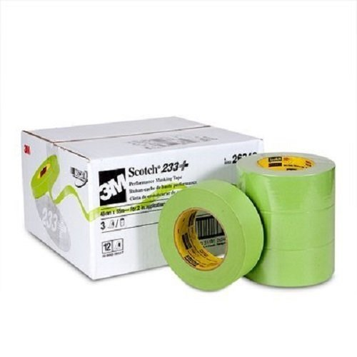 "3M Scotch 233+ Performance Paper Masking Tape, 60 yds Length x 2"" Width, Green (Case of 12)"