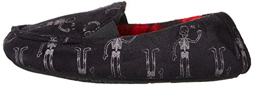 Trimfit Boys' Glow in The Dark Skelton Loafer Slippers Moccasin, Black/White/Red, 11/12 M US Little Kid by Trimfit (Image #5)