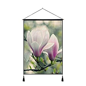 DZ.HAIKA Pink and White Magnolia Flowers - Natural Landscape Art Print Cotton Linen Home Wall Decor Hanging Posters(18x26inch) 45