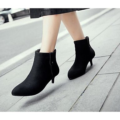 Botas de la mujer Confort Suede Primavera confort informal Ruby gris plana negra Gray
