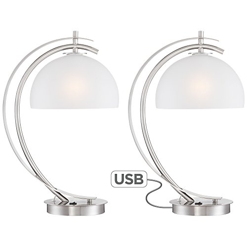 Dome Glass Table Lamp (Set of 2 Possini Euro Calvin Glass Dome USB Table Lamps)