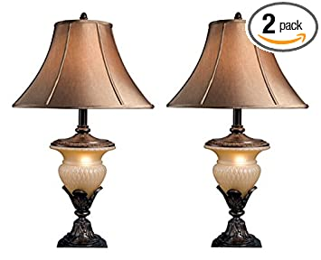 Ashley L530944 Traditional Beige And Bronze Danielle Table Lamp, 2 Pack