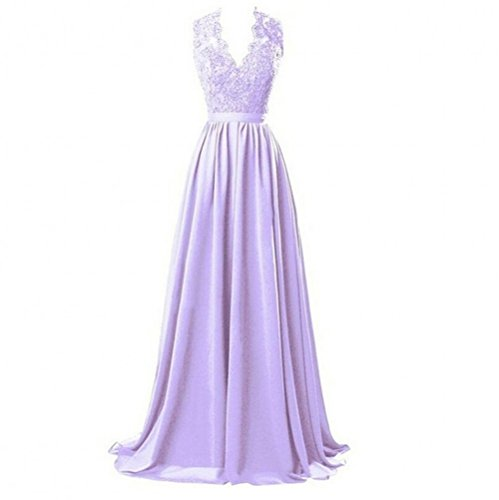 Prom abiti d' Gown damigella onore scollo Backless a Lilac KA con Line Beauty Appliques A donna V B8Oqn0Z4