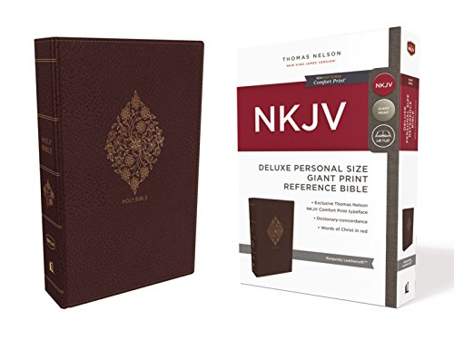 NKJV, Deluxe Reference Bible, Personal Size Giant Print, Leathersoft, Burgundy, Indexed, Red Letter Edition, Comfort Print