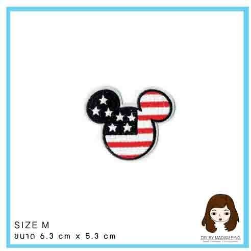 Mickey the Flag of America M0429 Embroidered Iron On or Sew On Patch TNK