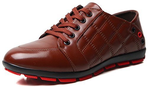 Summerwhisper Men's Trendy Plaid Low Top Lace-up Casual Shoes Round Toe Breathable Leather Skate Sneakers Brown 5.5 D(M) US by Summerwhisper