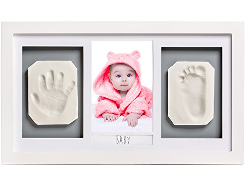 Lovely Baby Handprint & Footprint Picture Frame Kit -The Perfect Shower Gift for Boys and Girls, and A Forever Registry Memory, All in A Premium LARGE Wood Frame for Keepsake Decoration, Wall and Desk