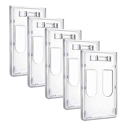 - KINDPMA 5 Pcs Heavy Duty Badge Holders Hard Plastic Clear ID Card Badge Holder with Vertical Thumb Slots for Employee or Student Driver License Proxy Card (Holds 2 Card)