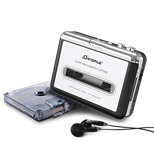 Cassette to MP3 Converter, USB Cassette Player Recorder to MP3 Converter Retro Walkman Audio PC Laptop Mac Headphones Software, Sliver