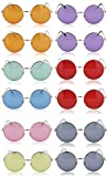 Sunny Pro Round Sunglasses Retro Circle Tinted Lens Glasses UV400 Protection (12 pack)