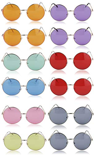 415897655 Sunny Pro Round Sunglasses Retro Circle Tinted Lens Glasses UV400 Protection  (12 pack) by