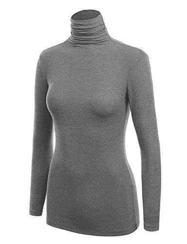 WSK1030 Womens Long Sleeve Ribbed Turtleneck Pullover Sweater M Heather_Dark_Grey