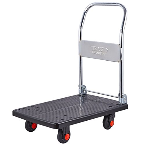 Hai Yan Boutique Trolley Ultralight Flatbed Folding Trolleys Tool Cart Plastic Vans Hand Truck 4 Rounds of Ultra-Quiet Trolley Load 200KG ()