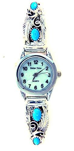 Turquoise Silver Watch Bracelet - By Navajo Artist Robert Brown: Navajo Women's Sterling-Silver Turquoise Bracelet