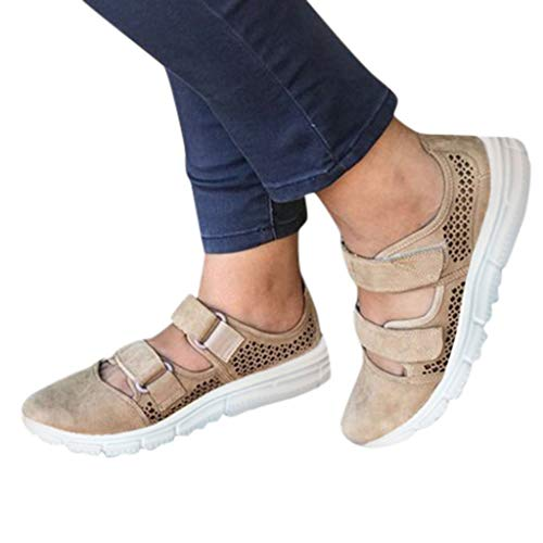 Cenglings Roma Shoes,Women Round Toe Retro Hollow Out Ankle Strap Flat Shoes Slip On Sports Shoes Office Sandals Khaki