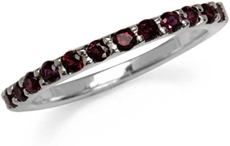 Natural Garnet White Gold Plated 925 Sterling Silver Journey Stack/Stackable Ring