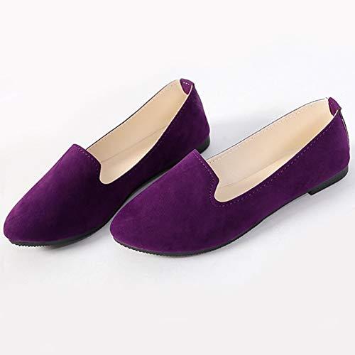 Chaussure Talon Léger Bonbons Confort Pointe Robe Plat Danse Couleur Bateau Femmes Mesdames Chaussures Casual Escarpins Huatime Bas Pointu Violet Hwxz8qvA7W
