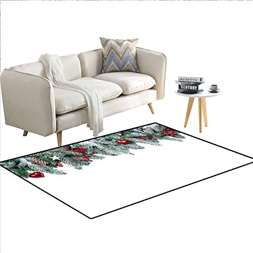Christmas Soft Anti-Slip Bath Rugs Snowy Xmas Branch with Vivid Baubles Stars Berries Cones and Mistletoe Yule Image Bath Mats for Floors 4'x6' Green Red ()