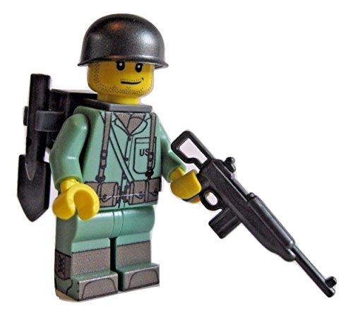 Lego Custom WW2 US Marine Minifigure with BrickArms, Brickforge Accessories (Lego Wwii Weapons)
