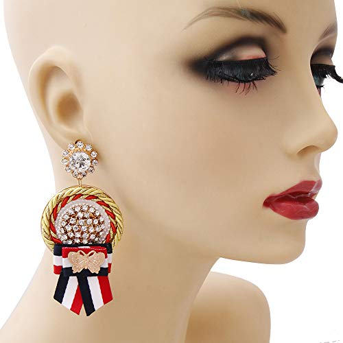 Gold and Rhinestone Drop Medal Stripe Earrings-Gucci Garden Theme inspired