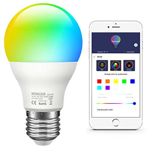 Remote Color Camera - MINGER Color LED Light Bulb, RGB Music Sync Dimmable Color Changing Bulbs A19 7W Equivalent 60W, Multi-color Smart LED Light Bulbs for Party Holiday Bedlamp, Needed APP Control