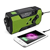GXOK Solar Weather Radio for Emergency with AM/FM Flashlight Reading Lamp and 2000mAh Power Bank Phone Charger Emergency LED Radio (Green)
