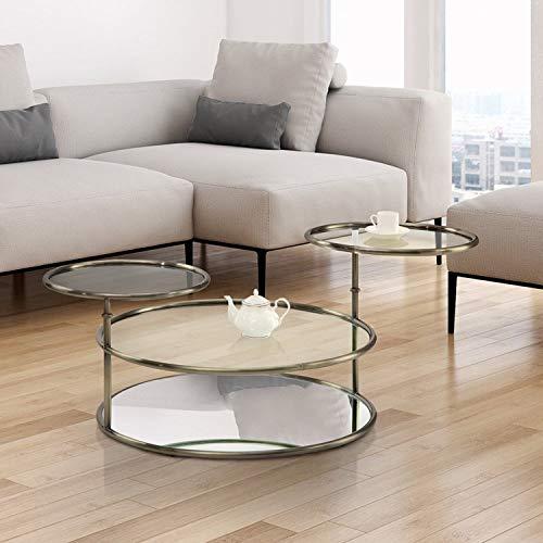Furniture of America Korra Modern Round Swivel Glass/Champagne Coffee Table